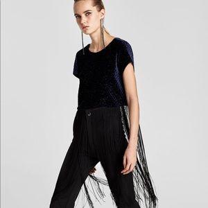 Zara Velvet Crop Top with Fringe